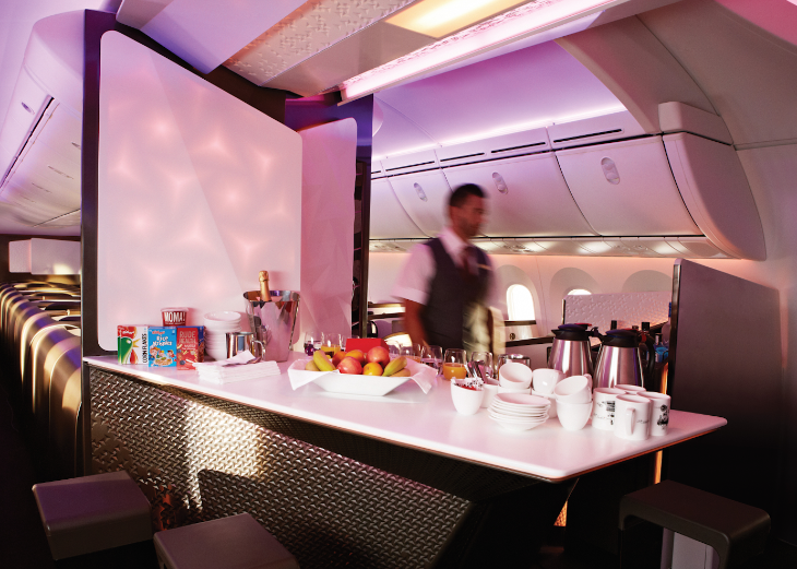 The new Upper Class bar onboard Virgin's new Dreamliner (Photo: Virgin)