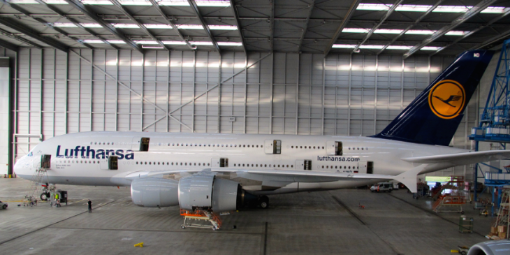 All doors open during a behind-the-scenes tour of Lufthansa's hangar in Frankfurt (Photo: Chris McGinnis)