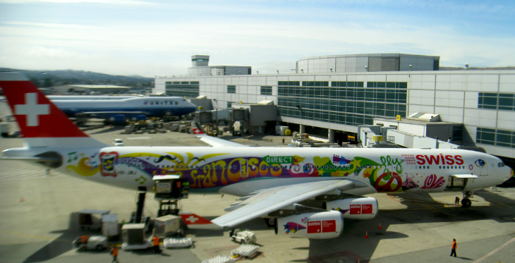 The SWISS flower power A340 appeared in San Francisco in 2010. I miss it! (Photo: Chris McGinnis)