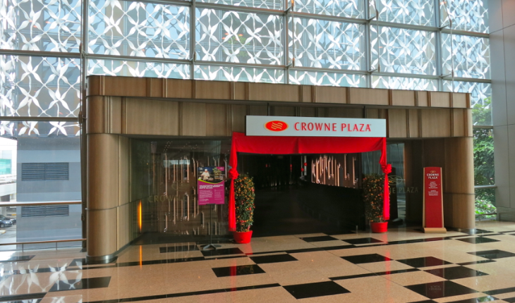 This Crown Plaza's front door opens into airport terminal at Singapore Changi Airport (Photo: Chris McGinnis)