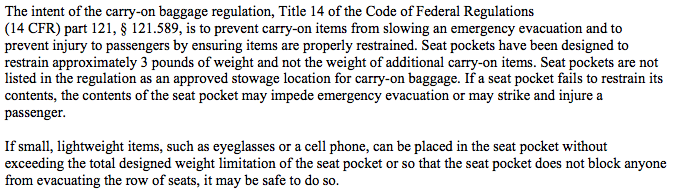 The verbiage from the DOT rule about seatback stowage.
