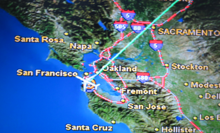 Freeway traffic monitored on inflight maps (Photo: Chris McGinnis)