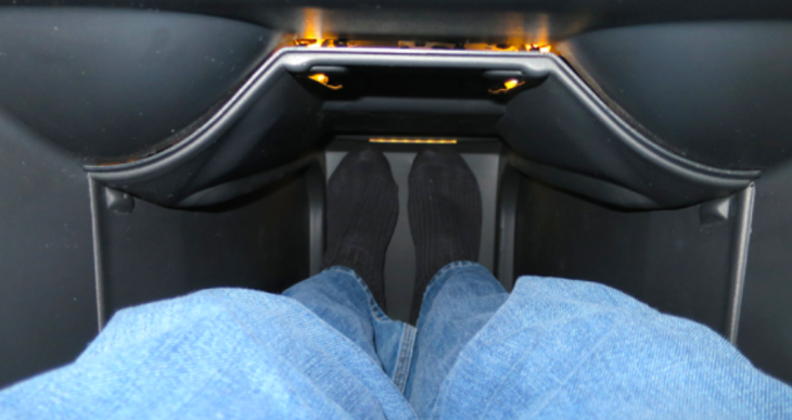 Foot and leg space in full recline in the Captain Kirk seat (Photo: Chris McGinnis)