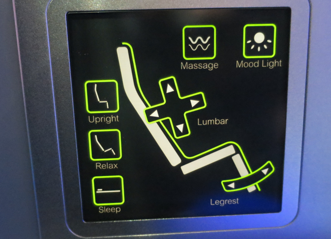 Easy to use seat controller-- note the massage function, which was nice (Photo: Chris McGinnis)