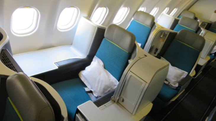 This is the Captain Kirk seat-- one of the two best seats in Aer Lingus biz class (Photo: Chris McGinnis)