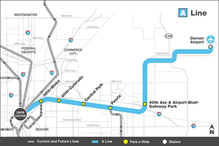 Denver's new rail line will link the airport with Union Station.