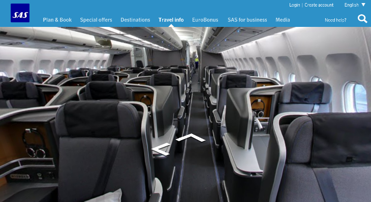SAS using Google's Street View technology to show off it's new cabins (SAS)