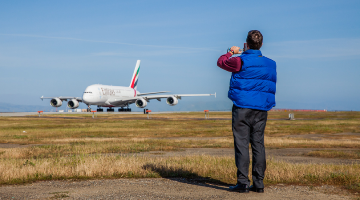 Not much more exhilirating than standing between runways at airport rush hour (Image: Peter Biaggi)