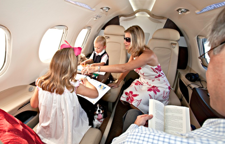 A JetSuite Phenom 100 easily accommodates a family of four (JetSuite)
