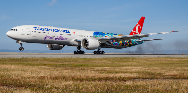 Turkish Airlines inaugural flight with San Francisco mural arrives at SFO (Chris McGinnis)