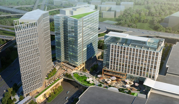 Rendering of the new Hyatt Regency Tyson's Corner now open in a mixed use development on the Metro Silver Line