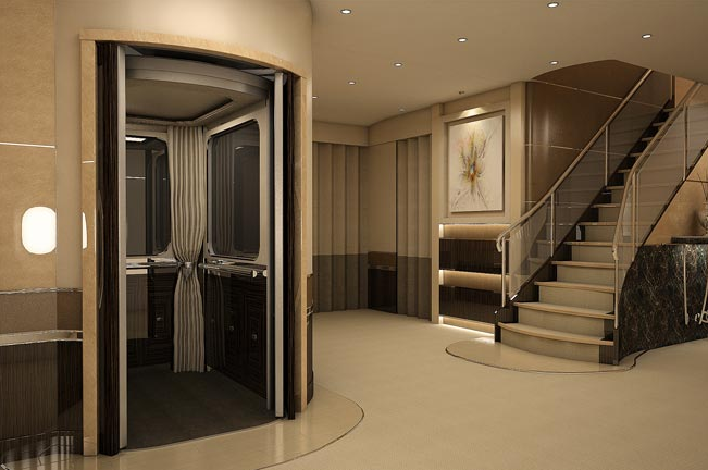 Yes, that's an elevator and staircase on a custom 747. (Image: Greenpoint)