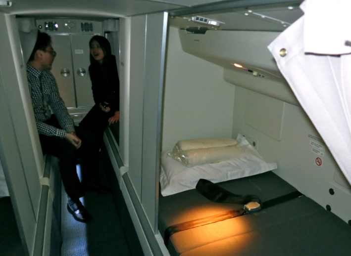 Cathay's crew rest area located over economy seats at the rear of the B777 (Photo: Chris McGinnis)