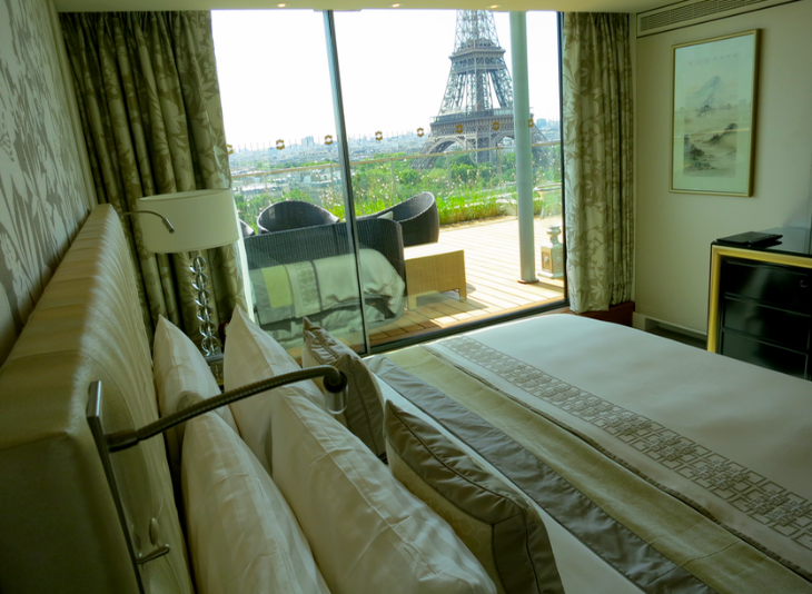 View of the Eiffel Tower from suite at the Shangri-La Paris (Photo: Chris McGinnis)