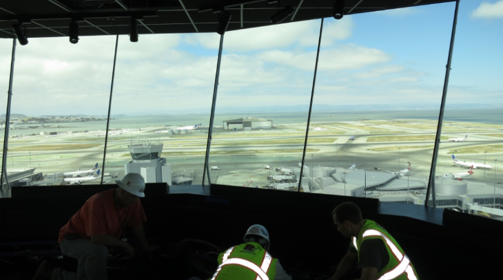 Installation of air traffic controller stations- there is room for 13 up here, but usually only 6-8 on the job. (Chris McGinnis)