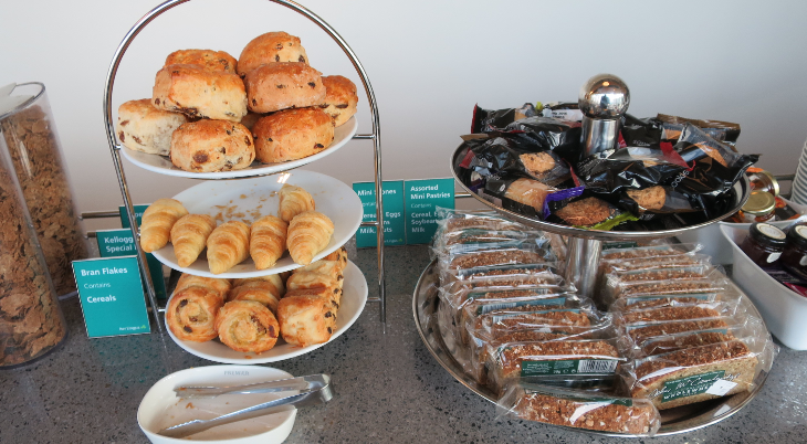 A full selection of breakfast breads at the Aer Lingus business class lounge (Chris McGinnis)