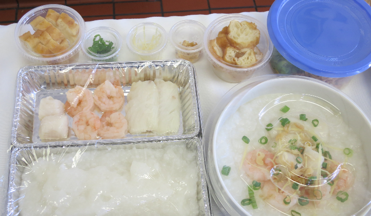 Congee is comfort food in Singapore- here you see the before & after (Chris McGinnis)