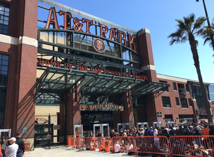 Fans line up at new MLB-required metal detectors at AT&T Park in SF (Photo: CLEAR)