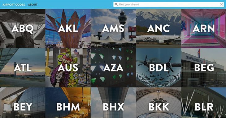 Site explains three-letter codes (Image: Airport Codes)