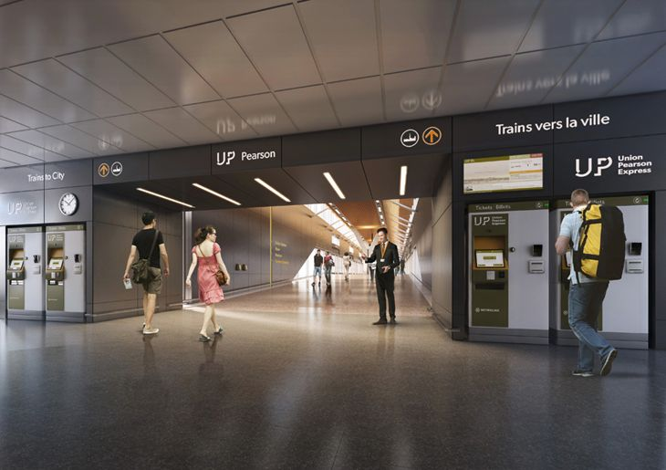 Entrance to the new express trains at Pearson Airport. (Image: Union Pearson Express)