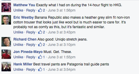 Some other good suggestions for travel pants from readers on our Facebook page. Follow us!