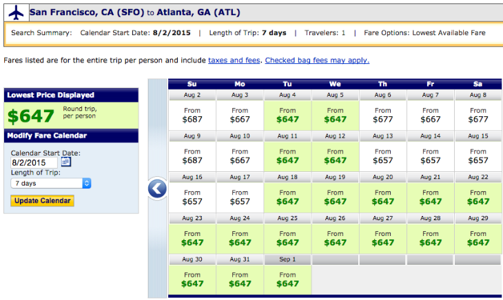 First class fares ATL-SFO on United this summer