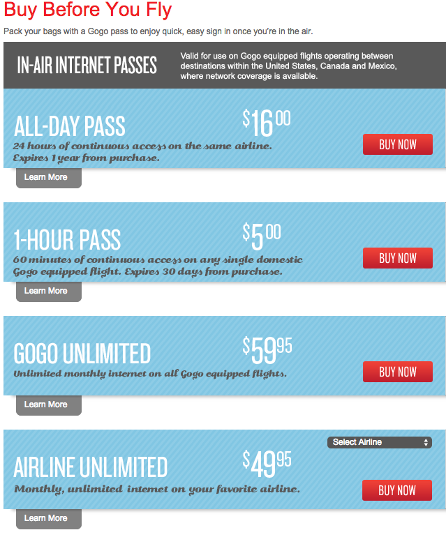 Gogo's current online prices.