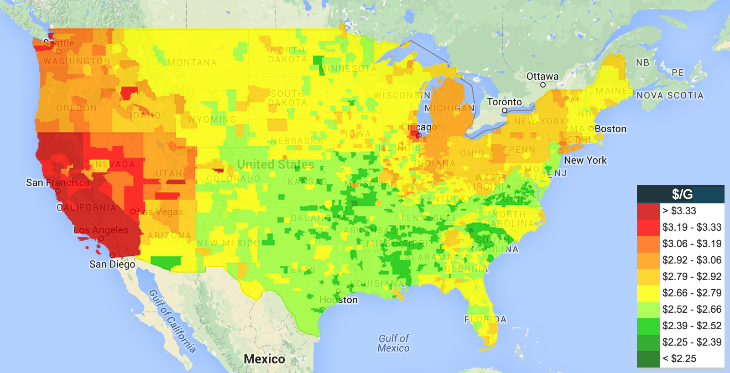 Cool gasoline price heat map - TravelSkills on gas map of sands, golf course map, gas prices by city, gas prices in the united states, state gas tax map, gas prices by zip code, ac map, body solder, basketball court map, dip soldering, gas funnel, texas gas processing plant map, natural gas, methylacetylene-propadiene gas, gas distribution, gas cylinder, usa county map, gas stations near me, gas plays map, gas temperature map,