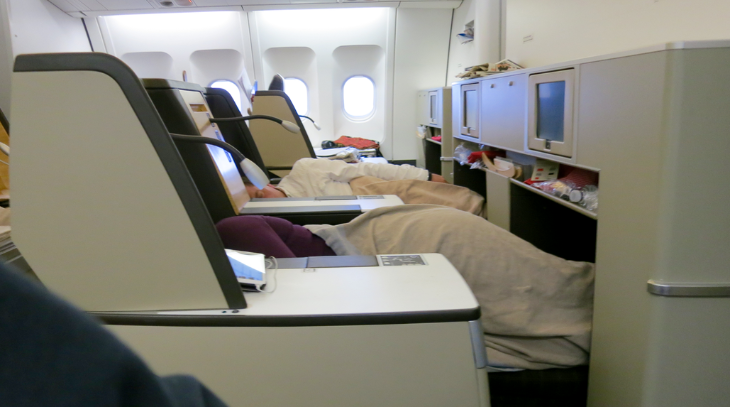 Sleep is easy in the quiet forward section in business class- just 9 seats (Chris McGinnis)