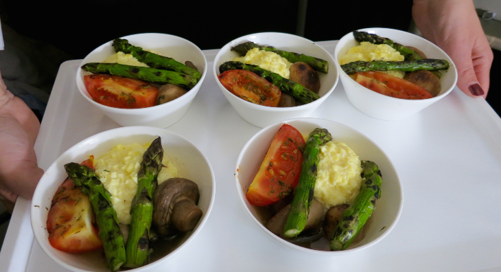 Breakfast eggs, mushrooms, tomato and asparagus (Chris McGinnis)