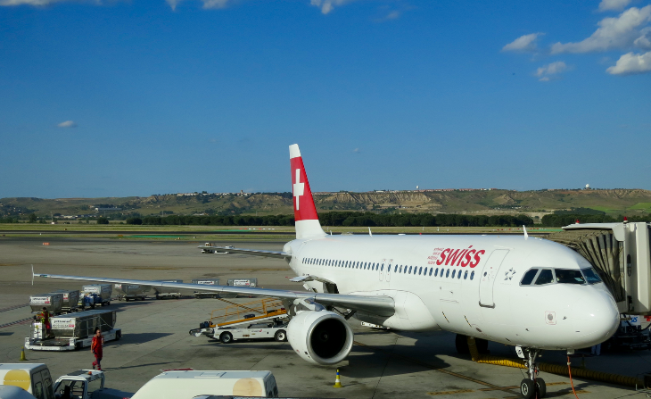 Our SWISS Airbus A320 at Madrid Barajas airport (Chris McGinnis)