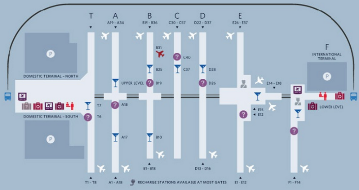 The walk from the end of Concourse E to immigration at Concourse F at ATL is a long haul (Map: Delta)