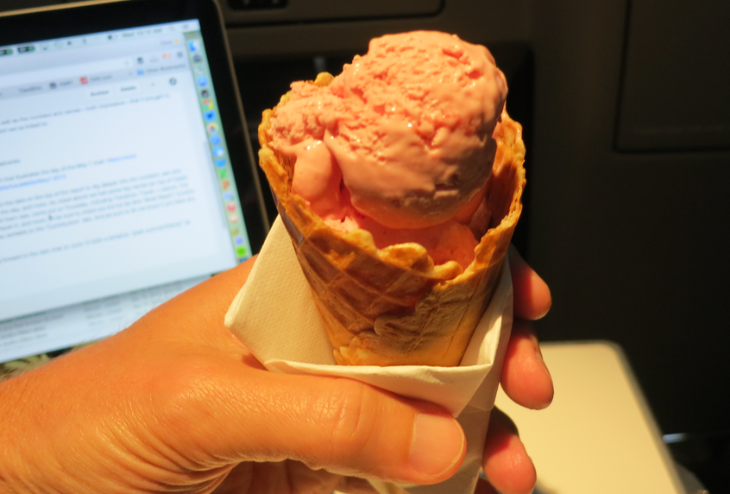 A little mid flight strawberry ice cream, then back to work on the blog (Chris McGinnis)