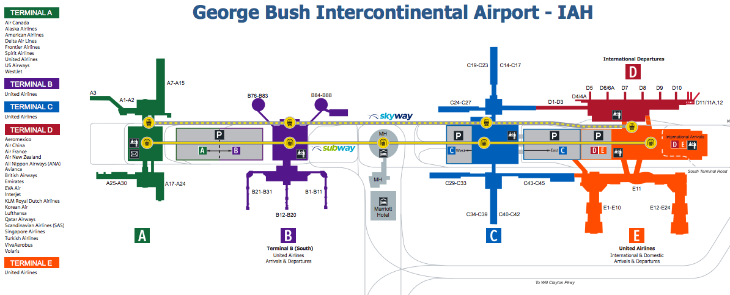 Map of Houston Bush Intercontinental Airport (Houston Airport System(