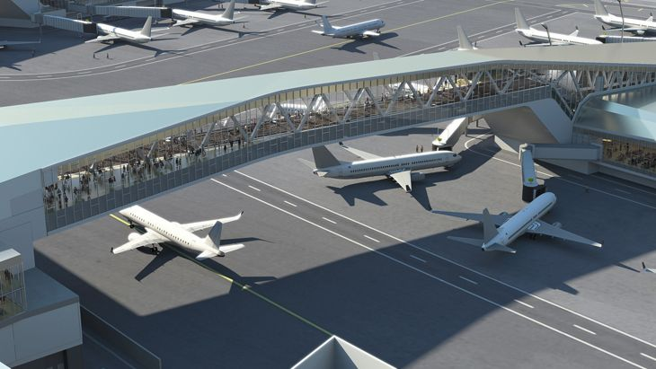 Bridges linking the terminal to gate areas will allow more room for aircraft movements on the tarmac. (Image: New York Governor's Office)