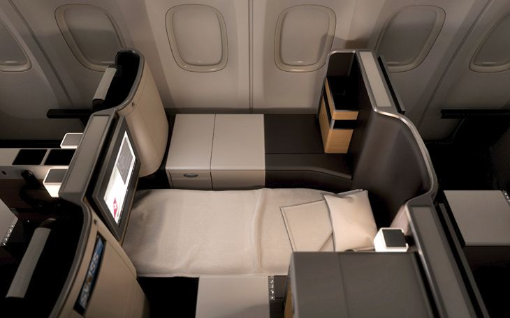 Business class seats recline to fully flat beds. (Image: SWISS)