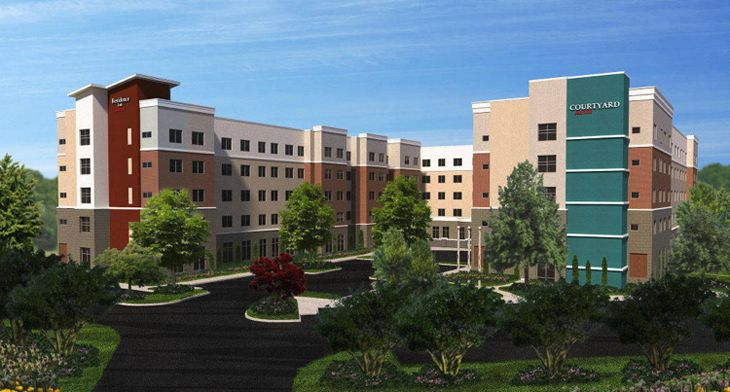 Marriott's new Courtyard/Residence Inn in Raleigh. (Image: Marriott)