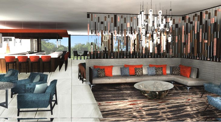 Entry lounge area at Hilton's new DoubleTree in San Bernardino. (Image: Hilton)