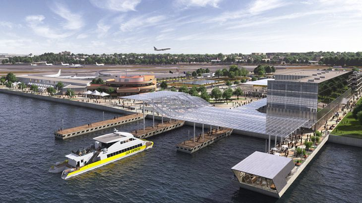 A LaGuardia ferry terminal will permit quick boat rides for passengers into the city. (Image: New York Governor's Office)