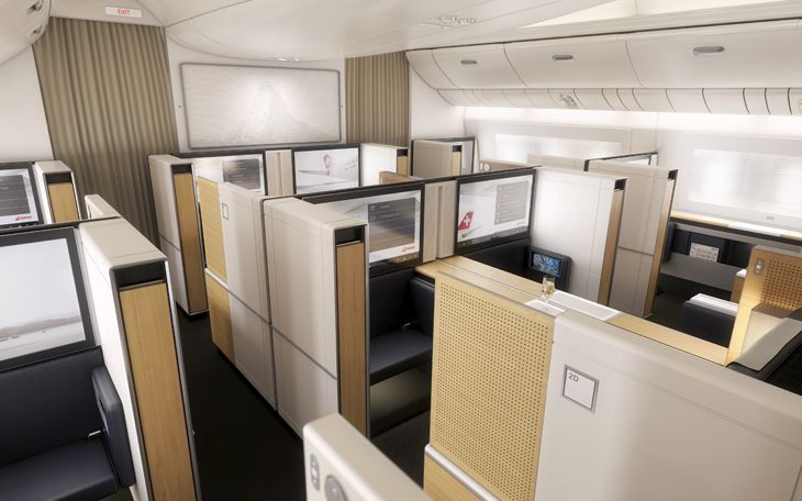 First class seats on SWISS's new 777-300ERs have 32-inch video monitors. (Image: SWISS)