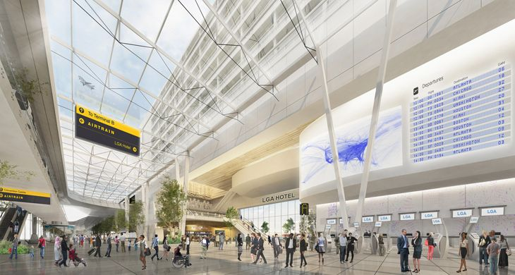 Soaring glass ceiling will link portions of the terminal and a new hotel. (Image: New York Governor's Office)