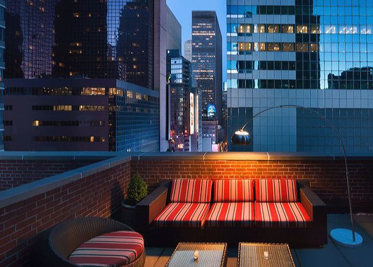 An outdoor terrace at the new TRYP by Wyndham Times Square. (Image: Wyndham)