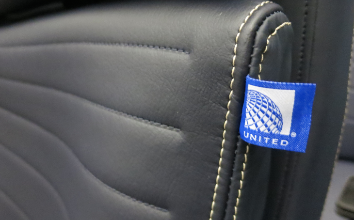 Dark blue leather and white stiching along with a Levi's-like United brand tag (Photo: Chris McGinnis)