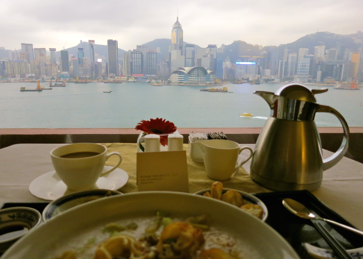 Breakfast overlooking Hong Kong Harbour at the InterContinental (Photo: Chris McGinnis)