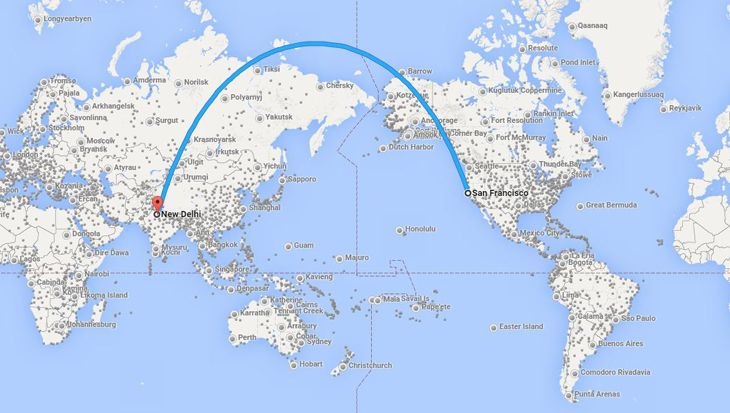 Air India's San Francisco flight will go over Alaska and Russia. (Image: Google Flights)