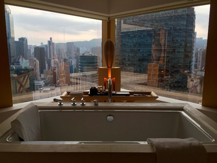 Fabulous bathrooms like this one at the Upper House in Hong Kong are a big item in hotels' growing list of improvements. (Image: Starwood)