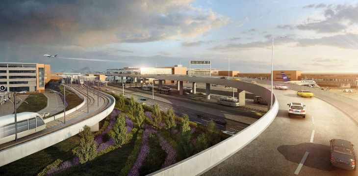 Sweeping roadway approaches to Salt Lake City's new terminal. (Image: HOK Architects)