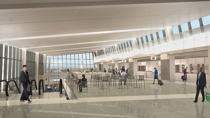 Interior space at Portland's expanded Concourse E. (Image: Portland Airport)
