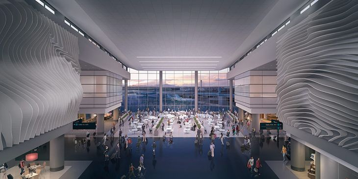 Rendering of central plaza in Salt Lake City Airport's new terminal. (Image: HOK Architects)