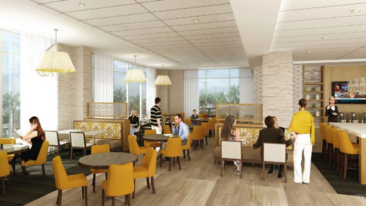 The coffee-to-cocktails lounge at the new Hyatt Place Miami Airport East. (Image: Hyatt)